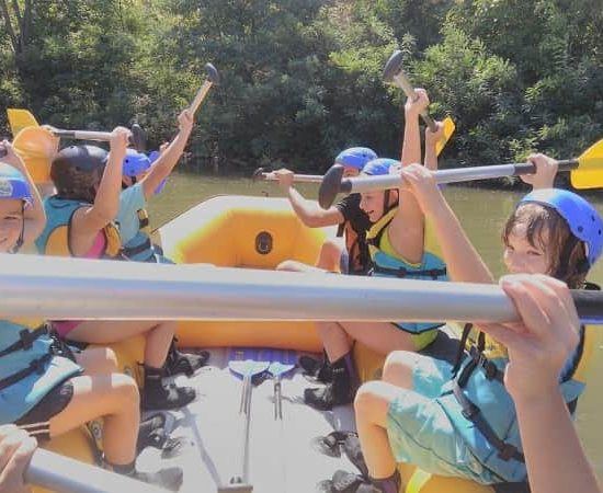 fun while doing rafting with kids